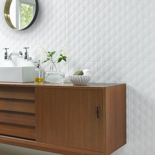 Ted Baker TacTile white structured matt wall tile 298mm x 498mm