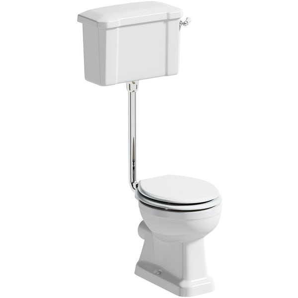 The Bath Co. Camberley low level toilet with wooden soft close seat white