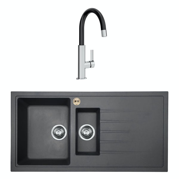 Bristan Gallery quartz right handed midnight grey easyfit 1.5 bowl kitchen sink with Melba black tap