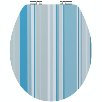 Accents Blue stripe acrylic toilet seat with soft close quick release hinge