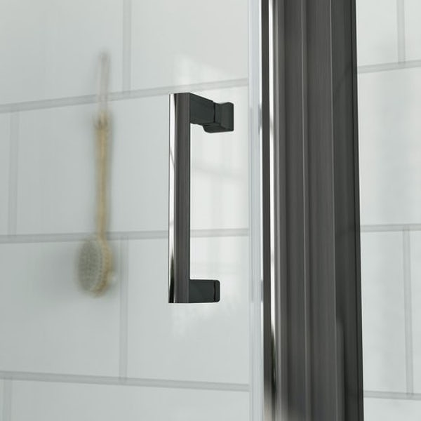 Mode Orion complete bathroom suite with contemporary stone grey wall hung toilet and black shower enclosure