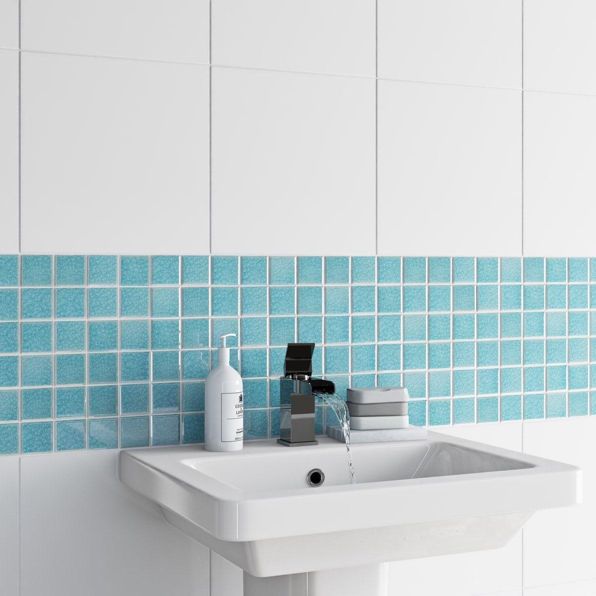 British Ceramic Tile Mosaic iridescent sea blue gloss tile 305mm x ...