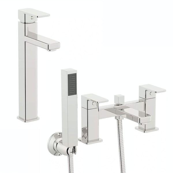 Quartz High Rise Basin and Bath Shower Mixer Pack