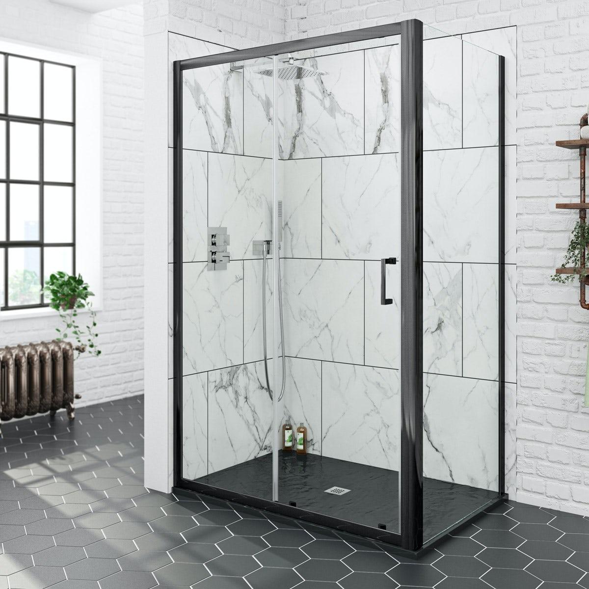 Mode black 6mm sliding shower enclosure with black slate effect tray 1200 x 800