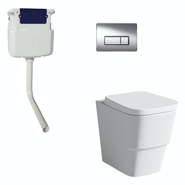 Mode Foster back to wall toilet with soft close seat, concealed cistern and push plate
