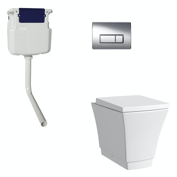Mode Austin back to wall toilet with soft close seat, concealed cistern and push plate