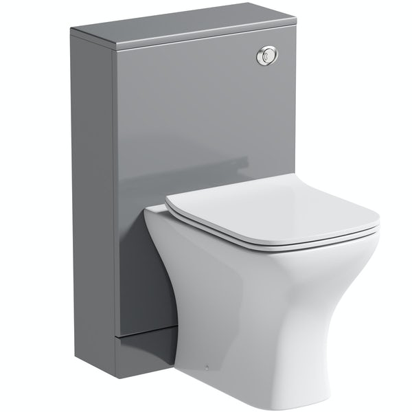 Orchard Derwent stone grey back to wall unit and square compact toilet with soft close slim seat