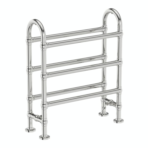 The Bath Co. Winchester chrome floorstanding heated towel rail 778 x 686