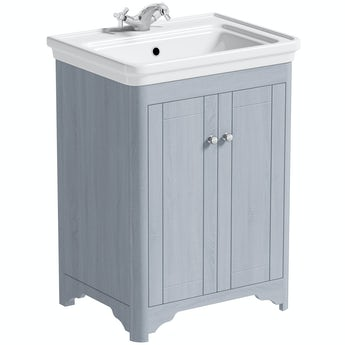 The Bath Co. Beaumont powder blue floorstanding vanity unit and basin 630mm