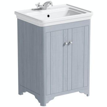 The Bath Co. Beaumont powder blue floorstanding vanity unit and basin 630mm