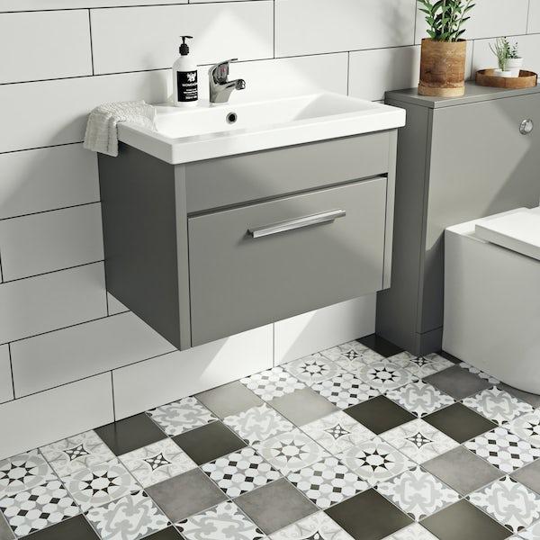 Clarity satin grey wall hung vanity unit and basin 600mm