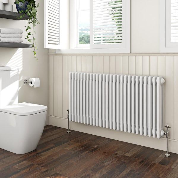 The Bath Co. Camberley white 4 column radiator 600 x 1194