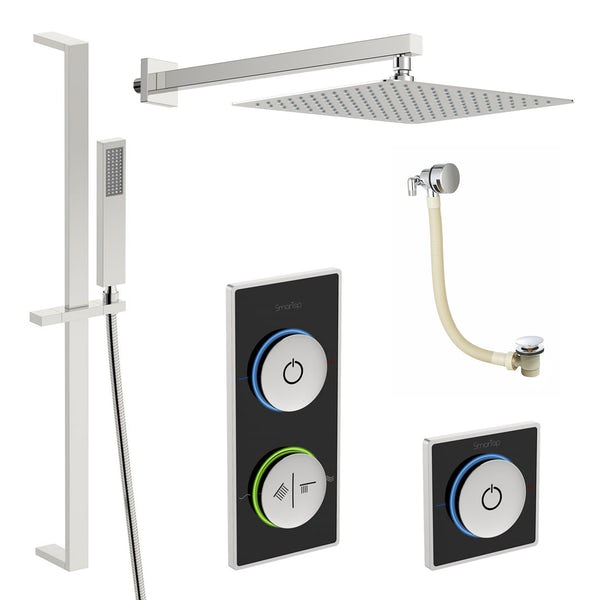 SmarTap black smart shower system with complete square wall shower bath set