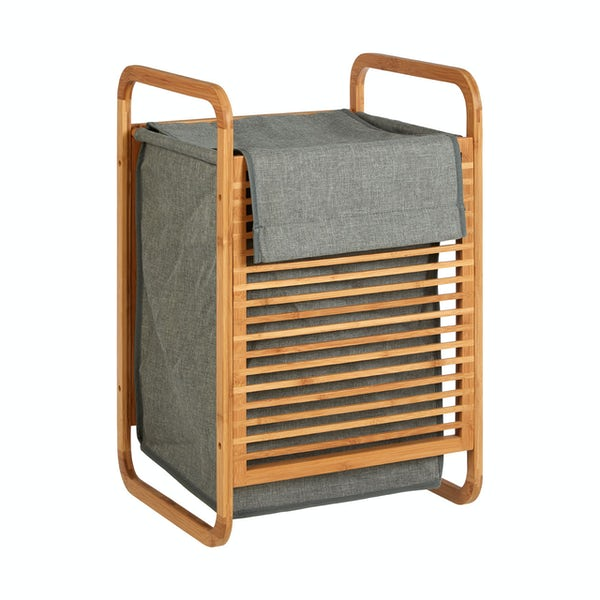 Carrick bamboo and grey fabric laundry basket