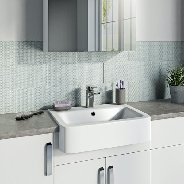 Glacier white and blue feature gloss wall tile 150mm x 400mm