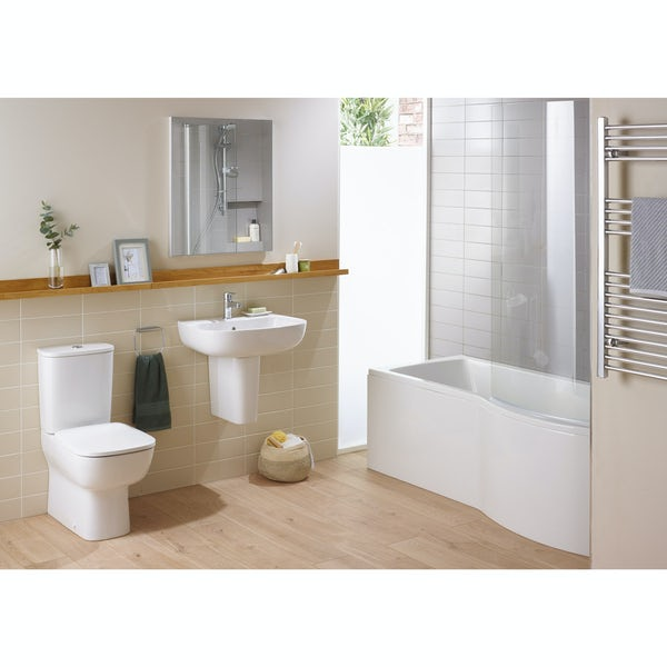 Ideal Standard Studio Echo left hand shower bath suite with semi pedestal basin 1700 x 800