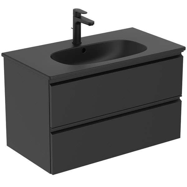 Ideal Standard silk black bathroom suite with straight bath, angle bath screen, mixer shower, vanity unit and basin 800mm with tap