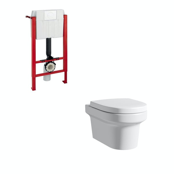 Mode Burton wall hung toilet with soft close seat and mounting frame