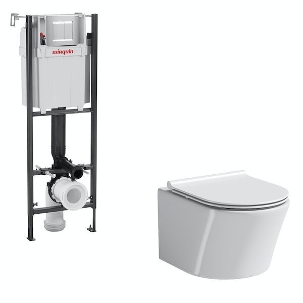 Mode Tate wall hung toilet with slim soft close seat and wall mounting frame with push plate cistern