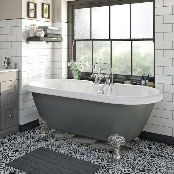 The Bath Co. Dulwich grey roll top freestanding bath with chrome claw feet