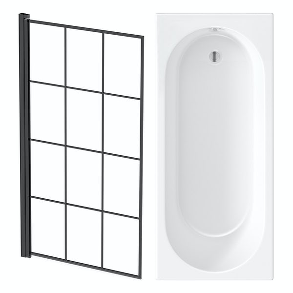 Orchard round edge straight shower bath with 8mm black framed shower screen