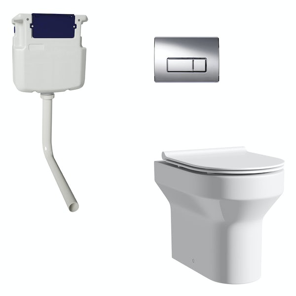 Orchard Wharfe back to wall toilet with slim soft close seat, concealed cistern and push plate