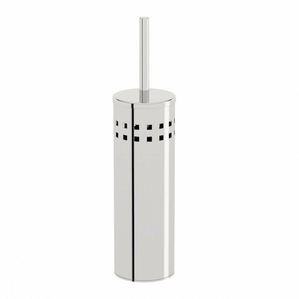 Options Round Freestanding Stainless Steel Toilet Brush Holder