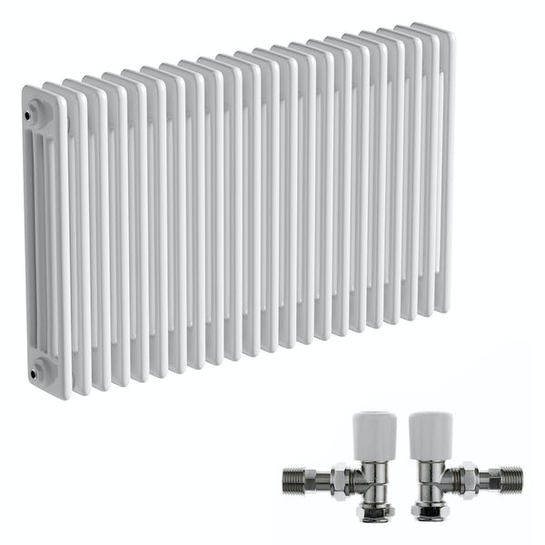 The Bath Co. Camberley white 4 column radiator 600 x 1014 with angled valves