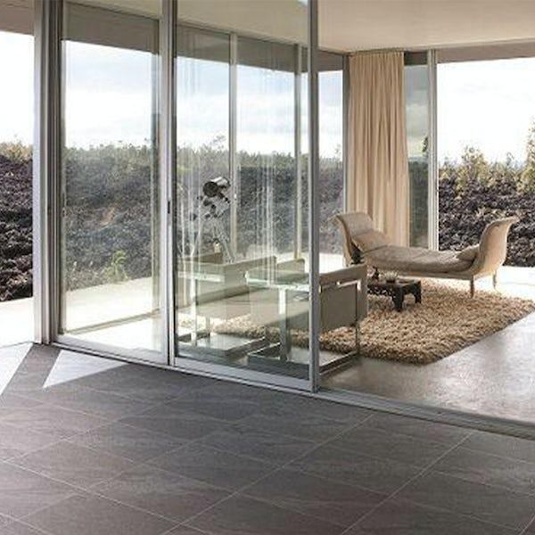 Alicura charcoal stone effect anti-slip matt wall and floor tile 600mm x 600mm