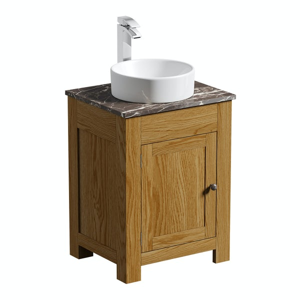 The Bath Co. Chester oak washstand with brown marble top and Calhoun basin 600mm