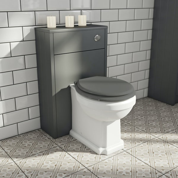The Bath Co. Dulwich stone grey slimline back to wall unit and toilet with white wooden seat