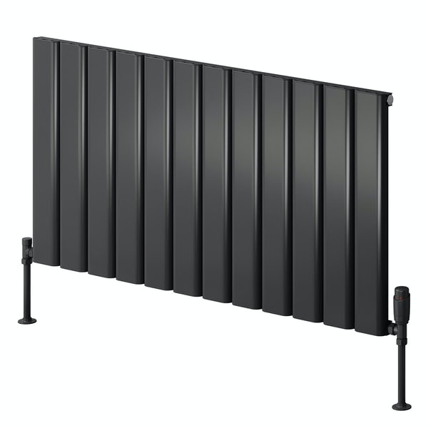 Reina Vicari anthracite grey single horizontal aluminium designer radiator