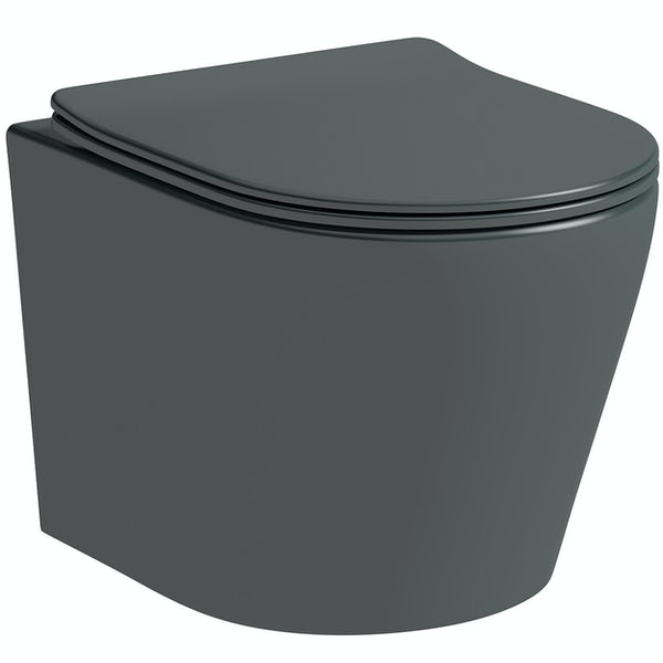 Mode Orion charcoal grey wall hung toilet with soft close seat and 1m wall mounting frame with push plate cistern