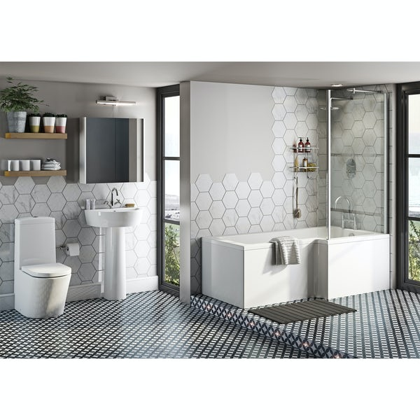 Mode Tate bathroom suite with right handed L shaped shower bath