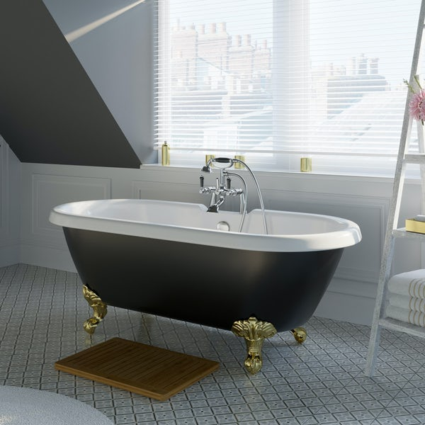 The Bath Co. Dulwich black roll top freestanding bath with gold claw feet 1695 x 740