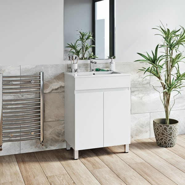 Orchard Thames white floorstanding vanity unit and ceramic basin 600mm