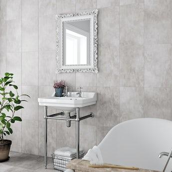 Laura Ashley Heritage plain dove grey matt wall & floor tile 298mm x 498mm