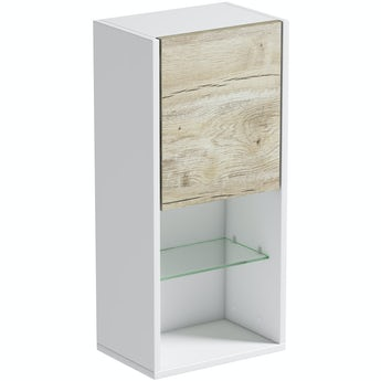Mode Burton white & rustic oak universal wall hung cabinet 700 x 330mm