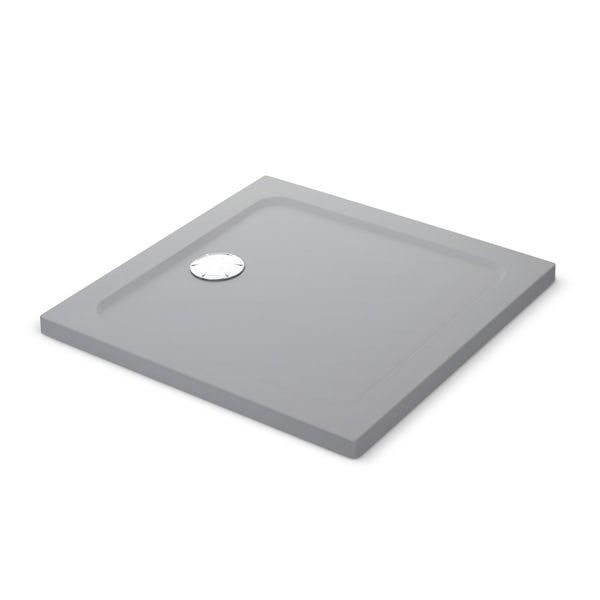 Mira Flight Safe low level anti-slip square shower tray in Titanium grey