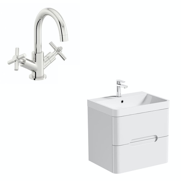 Mode Ellis white wall hung vanity drawer unit and basin 600mm with tap