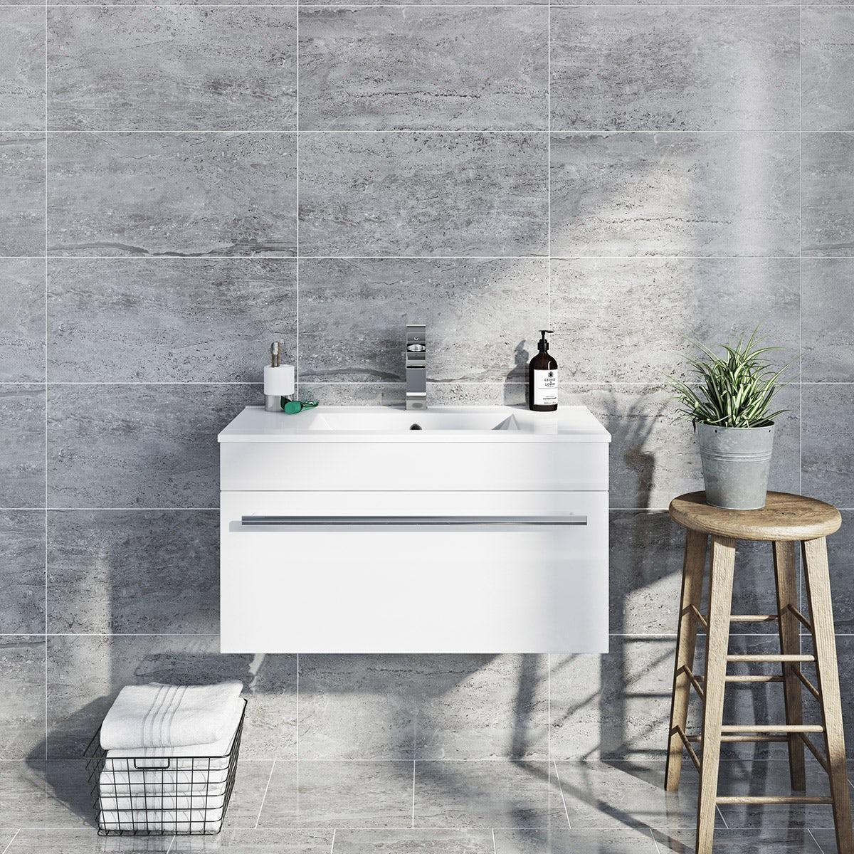 British Ceramic Tile Lux Grey Gloss Tile 298mm X 598mm