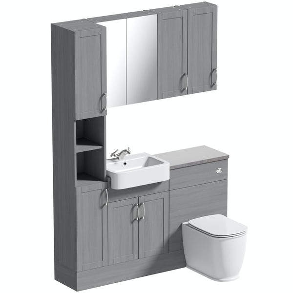 The Bath Co. Newbury dusk grey tall fitted furniture & storage combination with mineral grey worktop
