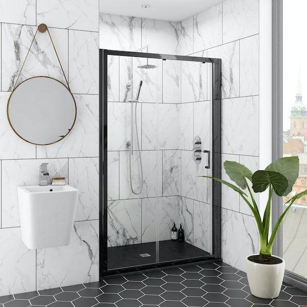 Mode black 6mm sliding shower door with black slate effect tray 1200 x 800
