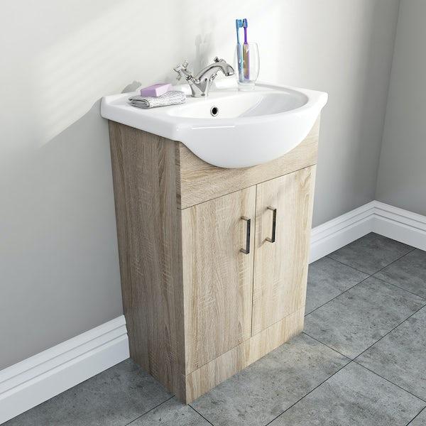 Bathroom Vanity Units B Q: Sienna Oak 55 Vanity Unit Basin