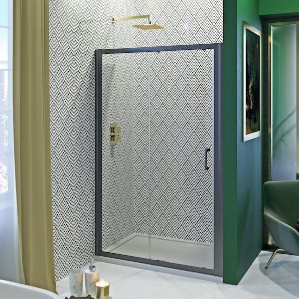 Showerwall Custom Black Geo acrylic shower wall panel