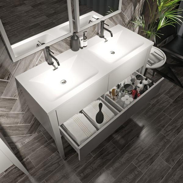 Mode Hale white gloss double basin vanity unit 1200mm