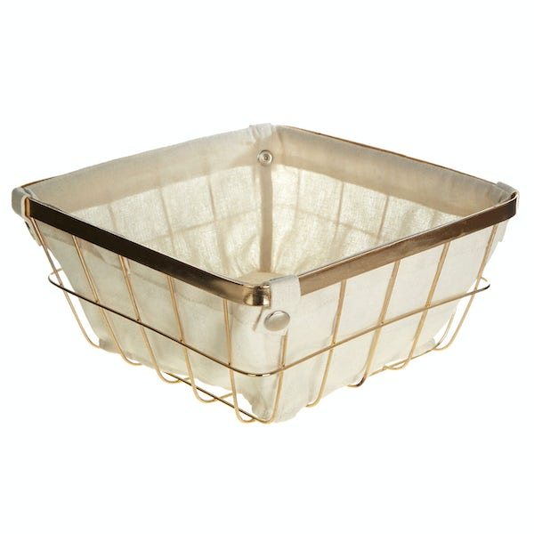 Gold finish small storage basket with cotton liner
