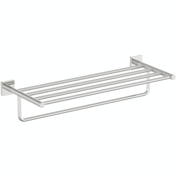 Accents square plate contemporary towel shelf