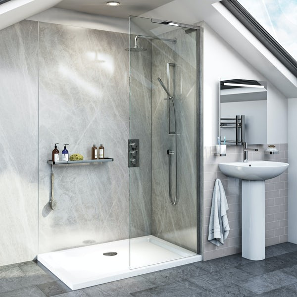 The Bath Co. Camberley satin grey complete ensuite furniture suite 1200 x 800