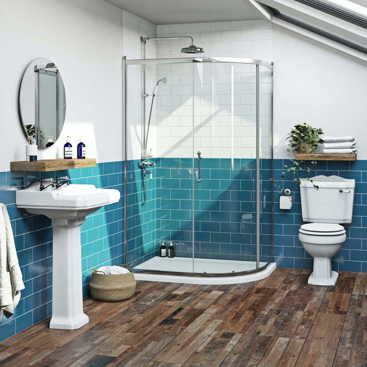 The Bath Co. Winchester traditional one door offset quadrant shower enclosure 1200 x 800